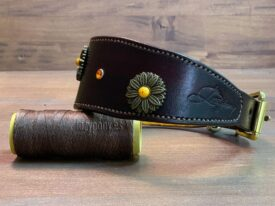 Brown hound collar with conchos