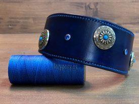 Blue hound collar with conchos