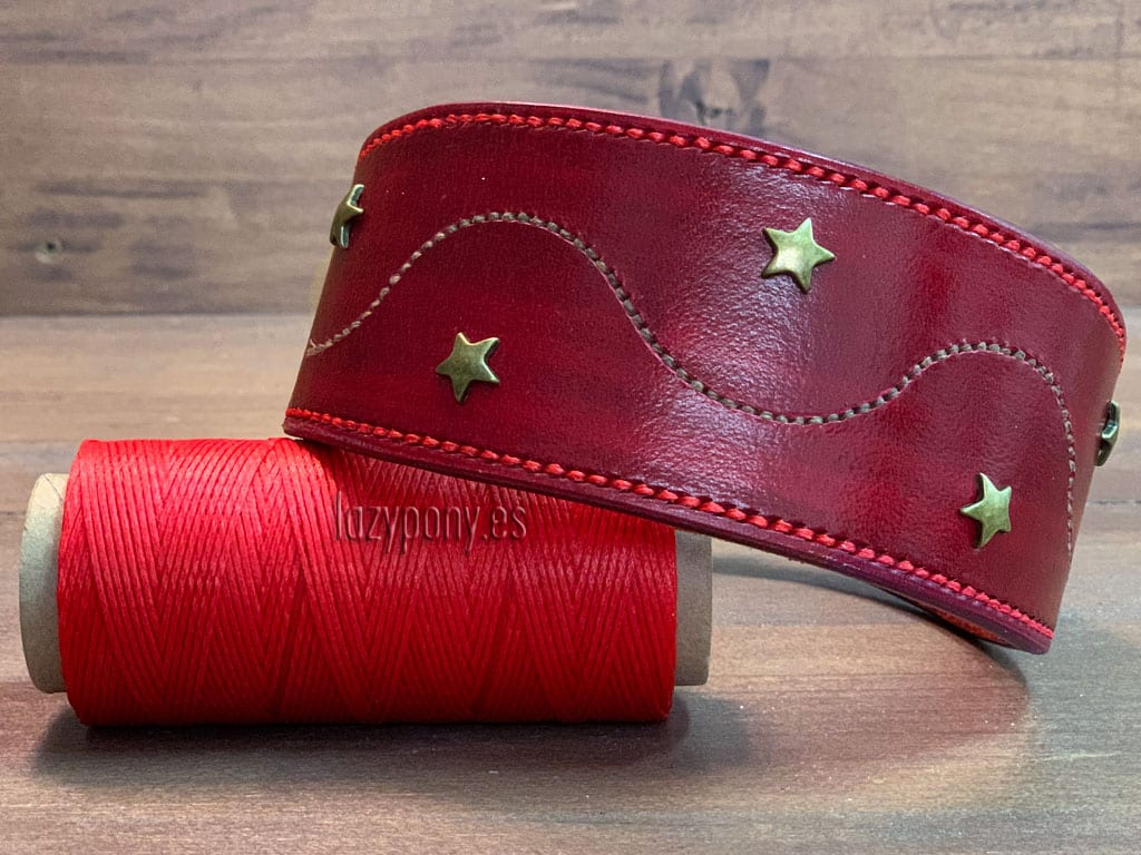 Decorated red hound god collar