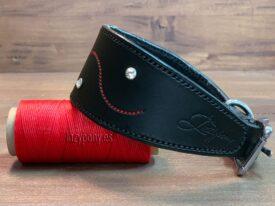 Decorated black hound dog collar