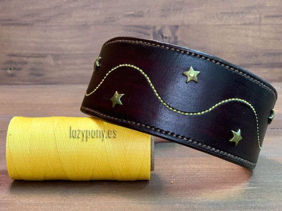 Decorated brown hound god collar