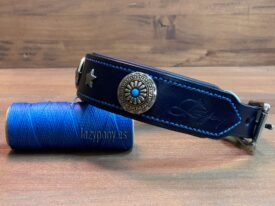 Blue collar with conchos