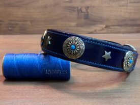 Blue Martingale Collar with conchos