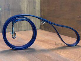 Blue leather dog lead